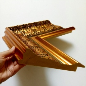 4.7inch Wide Gold Leafs Big Mouldings Picture Frames for Paintings